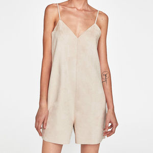 New  ZARA Faux suede Romper jumpsuit Biege Small